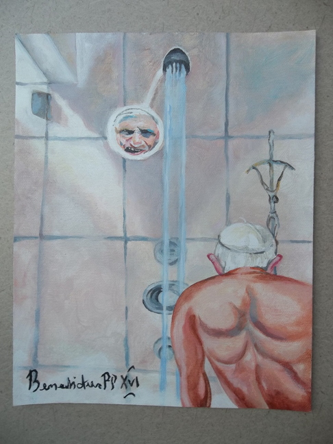 Dan Lacey: Pope Benedict Shower Painting, As Inspired By President George W. Bush